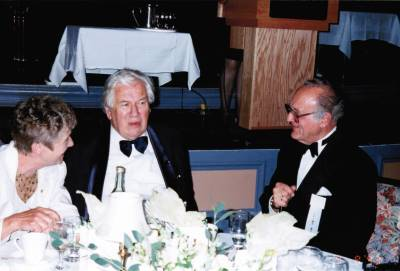 <span class='aslide1'>Sir Peter Ustinov with Senator Stanley and Natalie Haidasz</span>