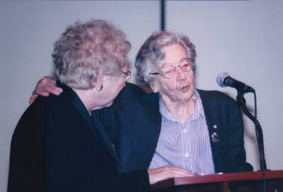 <span class='aslide1'>Dr. (Professor) Ursula Franklin with Sister A.T. Sheehan</span>