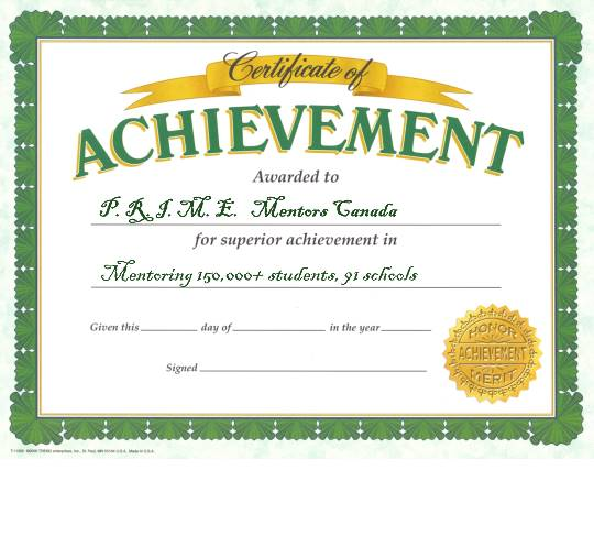 Blank Certificate of Achievements